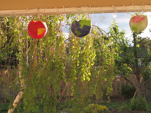 Papier mache lanterns glowing...