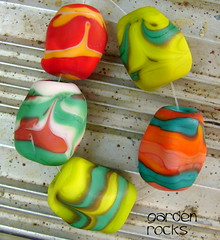 Garden Rocks (Laura Blanck Openstudio) Tags: red orange green art glass coral rock set beads big rocks colorful bright handmade teal cream chartreuse ivory jewelry odd mango faceted lime kiwi murano lampwork multicolor matte whimsical frosted petroleum openstudio openstudiobeads