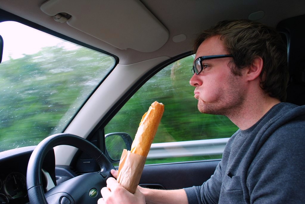 mike is a happy man with his baguette