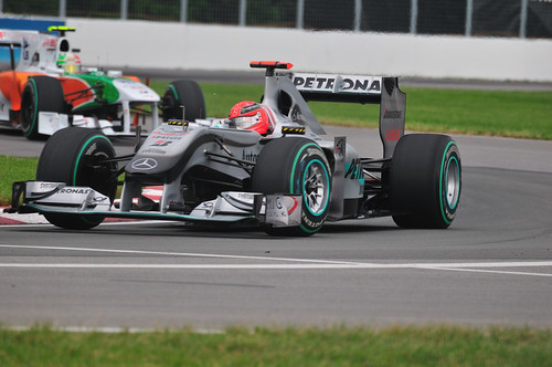 Mercedes GP driver Michael Schumacher of Germany in the Senna corner (2010 Canadian GP)