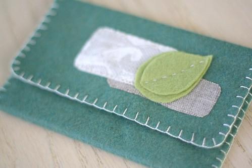 leafy felt wallet.