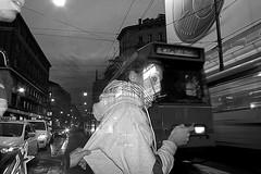 (Donato Buccella / sibemolle) Tags: italy flash strobist sibemolle milanoviaoreficibwblackandwhitetramflashmilancandidstreetstreetphotographymg05751tifoneexposurestrobistaiquattroformaggi