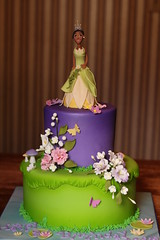 Princess and the Frog cake (Andrea's SweetCakes) Tags: flowers butterflies birthdaycake lilypads toadstools princessandthefrog