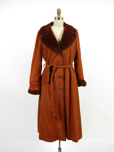 vintage 70s faux pile lamb trench coat