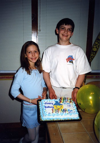 Christina and Will with their 10th and 15th birthday cake, 2000.