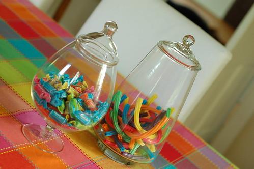 Rainbow apothecary jars.