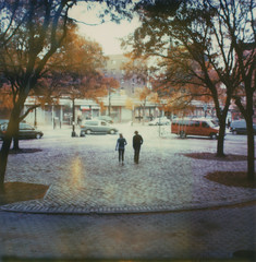 (jeffreywithtwof's) Tags: nyc autumn fall jeff brooklyn walking sx70 couple 2006 cobblestone hutton expired 2010 timezero fortgreenepark alpha1 roidweek jeffhutton jeffhuttonphotography jeffreyhutton