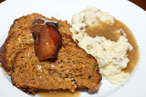 Jalapeño Meatloaf with Parmesan Mashed Potatoes and Mustard Gravy
