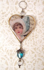 2010 Holiday Ornament Collection - Victorian Aqua Angel Heart