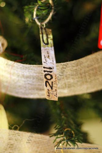 Manualidades Navidad: Adorno de árbol de Navidad reciclados con paletinas (cucharas) de plástico para el café, recortes de revistas y clips