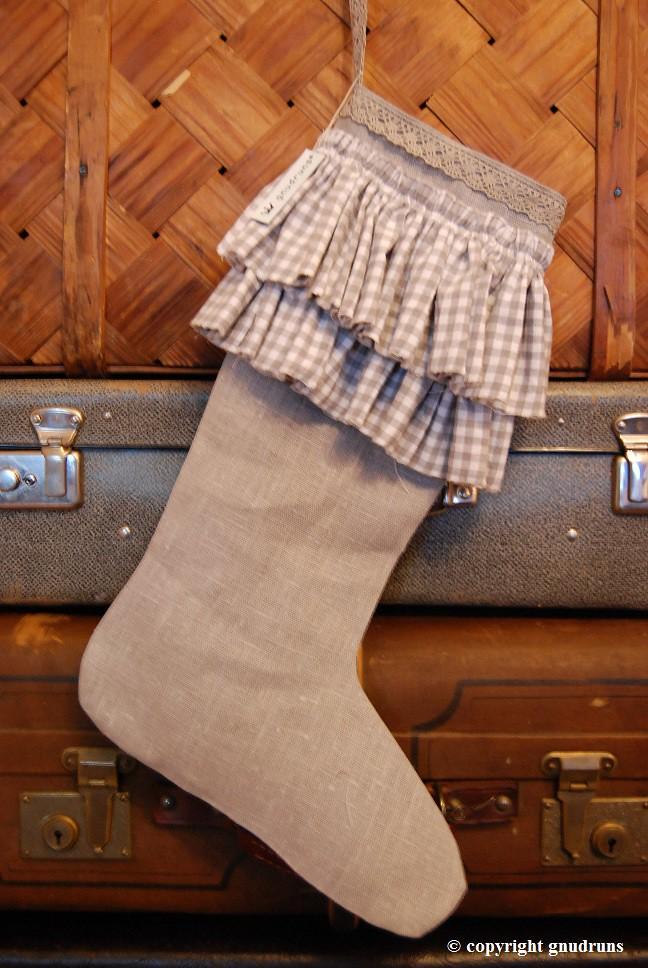 Grey, rustic christmas stocking