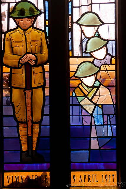 Battle of Vimy Ridge Memorial Window, Soldiers' Tower, University of Toronto, Rememberance Day, 2010