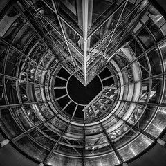 Tokyo Mandala (marco ferrarin) Tags: mandala geometry geometric urban space reflection glass steel architecture elevator skyscraper night blackandwhite longexposure tokyo akasaka abstract buddhism hinduism universe sky subway station tameikesanno window light underground pattern 東京 曼荼羅 赤坂 溜池山王駅 मण्डल circle cosmos