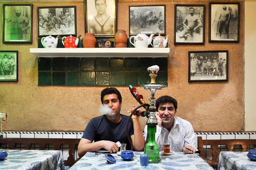 shisha smoking in a teahouse, Tehran