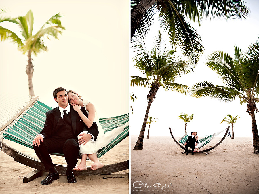 vintage beach hammock wedding photography