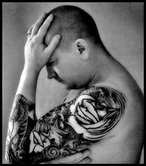 Self Portrait- mono (chez_worldwide) Tags: portrait white black rose tattoo self mono thought think gray thinking sleeve thinkk