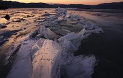 Lake Suwa's Omiwatari(Passage of the Gods) (masahiro miyasaka) Tags: winter white lake snow ice japan canon wonder suwa settingsun 諏訪湖 lakesuwa icecracks 御神渡り