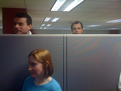 2009 Outtakes: February 5th (allankcrain) Tags: work cellphone coworkers cubicle moire cubicles iphone tace cellphonephotography synacor beager kkern myfriendmelissasuggestedthisdate