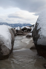 Snow covered rocks in Lake Tahoe