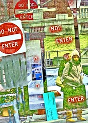 Do Not Enter, Enter (tomswift46 ( Hi Res Images for Sale)) Tags: woman sign transformation massachusetts go free overlay stop hood everything nothing enter amherst legacy hdr donotenter hypothetical imprisoned awardtree colorsofthesoul expressyourselfaward art2010 thereisnosoulonlybrainfunctions