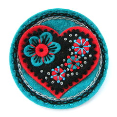 FELT 'LOVE' BROOCH (APPLIQUE-designedbyjane) Tags: heart embroidery silk felt cotton handembroidery