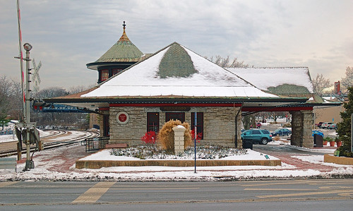 Amtrak train station, in Kirkwood, Missouri, USA - view with snow