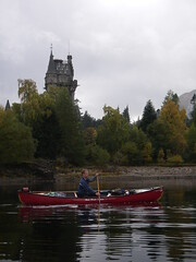 canoeing past Glen Bogle castle in the highlands