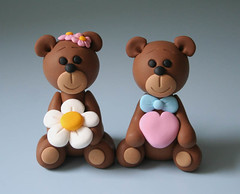 Bear Wedding Cake Topper (fliepsiebieps1) Tags: bear flowers wedding sculpture brown cute love couple teddy handmade polymerclay figure caketopper custom figurine