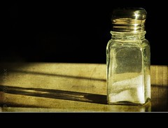 salt and light (OneEyedJax) Tags: light stilllife sunlight reflection glass metal still shadows salt saltshaker clear bej omot