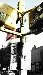 Signal Stickup (mheidelberger2000) Tags: newyorkcity manhattan soho stickers selectivecoloring walkingsignal