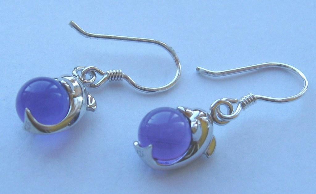 Amethyst ball silver Dolphin earrings from Crimeajewel