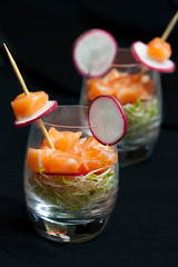 salmon ceviche with alfalfa sprouts and white raddish pickle (pvcpvc) Tags: lighting food white color colour art glass beautiful yummy artistic pair small salmon twin atlantic delicious toothpick savoury pickle sprout culinary ceviche alfalfa raddish atlanticsalmon foodstyling verrine cublet whiteraddish