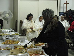 A meal is shared after the service