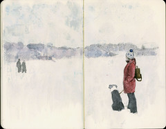 Frozen lake (Wil Freeborn) Tags: winter lake ice moleskine scotland frozen sketch waves journal menteith housand