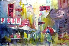 Rue du Dragon / Dragon Street (chrisaqua47) Tags: street people art watercolor painting market aquarelle chinese peinture watercolour acuarela chinois rue march gens flickrunitedaward