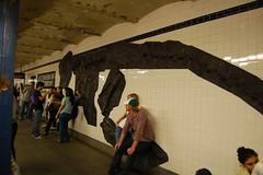 Sitting on Dino Bones (rocketdogphoto) Tags: usa newyork subway manhattan mosaic upperwestside mta fossils 81ststreetstation newyorkmetropolitantransitauthority