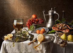 Still life with crab, grapes, peaches and figs (kevsyd) Tags: stilllife lemon crab grapes peaches roemer rummer willemclaeszheda kevinbest dutchstilllife willemclaeszoonheda