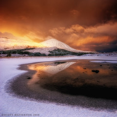 Foreboding Skye (scott masterton) Tags: winter light brown white mountain snow reflection skye ice wet clouds sunrise scott square gold dawn scotland pentax foreboding rich na highland getty loch isle rf daybreak fascinating masterton cill sigma1020mm beinn caillich chriosd k200d welcomeuk