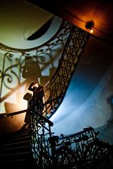 IMGP6700 (lukasz kruk) Tags: vienna wien blue light shadow orange man green film hat stairs colorful stair noir colours shadows coat staircase third gels gel strobist