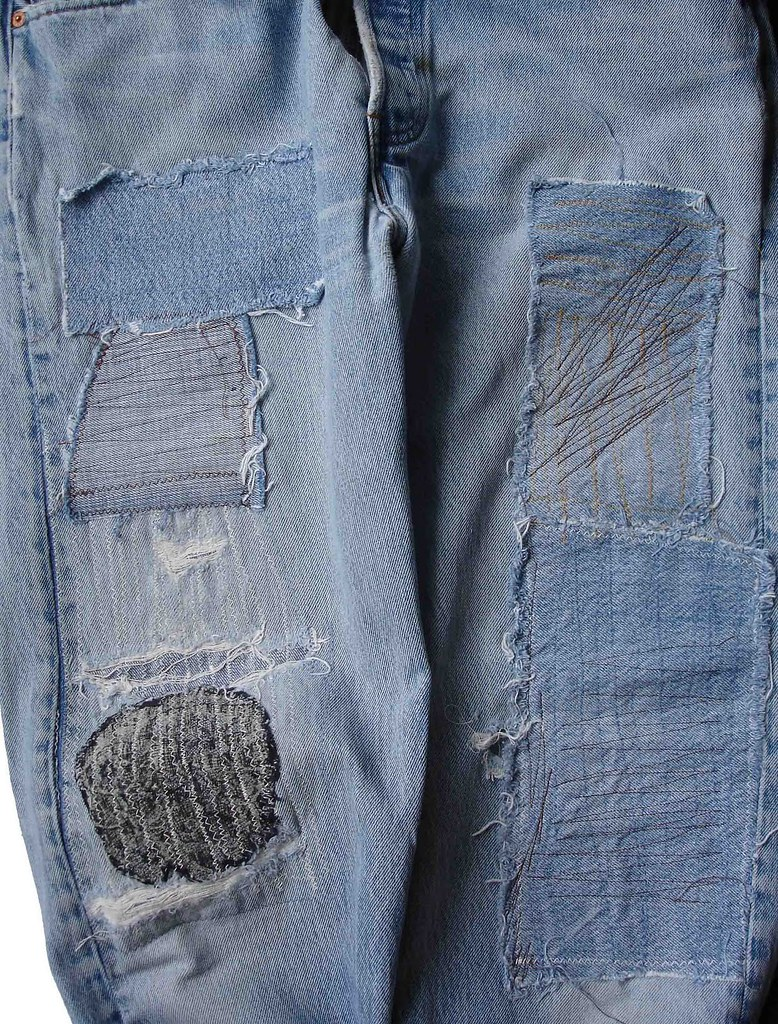 DIY patchwork mending jeans tutorial by Nancy Minsky