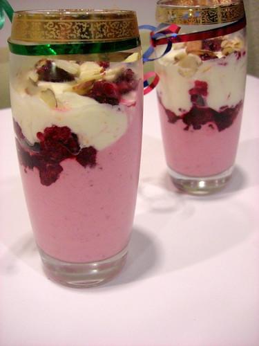 dessert with yogurt and raspberries