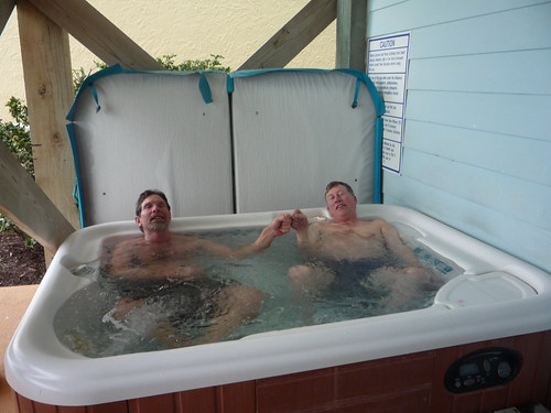 John and Paul in the hot tub
