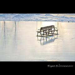 Waiting for the new year (Ziyan | Photography) Tags: winter white lake snow ice port sunrise canon bench quebec montreal lac oldport  24105    canonef24105mmf4lisusm 24105mmf4