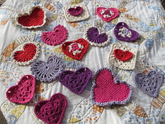 A spread of love (eclectic_chica) Tags: hearts crochet cotton granny