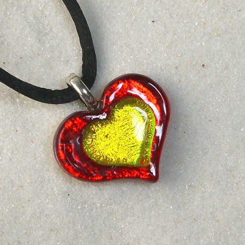 Red-N-Gold Dichro Heart Pendant
