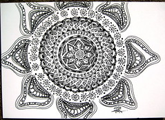"Itty Bitty Detail Mandala (Stephanie ""Biffybeans"" Smith) Tags: art yoga pen pencil ink watercolor sketch paint artist personal geometry expression evolution mandala whole doodle sacred marker meditation spirituality draw sanskrit yantra mantra biffybeans"