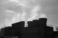 Factory exhausts (Snap Shooter jp) Tags: street leica sky blackandwhite bw film monochrome silhouette japan fog 50mm factory fuji smoke rangefinder snap mp kawasaki blackdiamond acros100 ukishima leicasummicron50mmf20collapsibleltm flickrestrellas