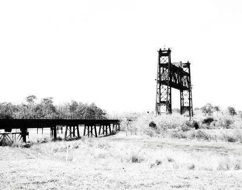 Truss Railroad Lift Bridge over Cedar Bayou, south of Spur 55, Baytown, Texas 0220101157BW