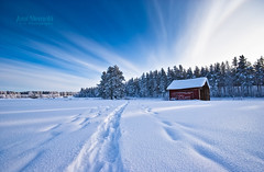 Red Barn (Joni N) Tags: blue trees winter sky white snow cold clouds forest finland landscape pentax tracks halo arctic nordic redbarn sigma1020 k10d pentaxk10d