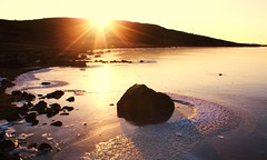 (Jaana-Marja) Tags: sunset sun lake ice water frozen iceland stones hvaleyrarvatn vanagram dragondaggerphoto daarklands yourwonderland